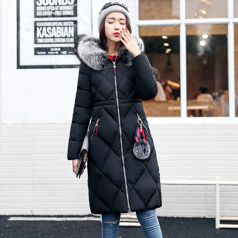 2017 Winter Jacket Women Fur Collar Fashion Thick Warm Outwear Parkas Female Cotton Padded Hooded Slim Fashion Nine Colors M-3XL women winter coat leisure big yards hooded fur collar jacket thick warm cotton parkas new style female students overcoat ok238