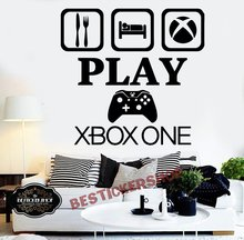 лучшая цена Gamer Xbox wall decal Eat Sleep Game Controller video game wall decals Customized For Kids Bedroom Vinyl Wall Art Decals A1-005