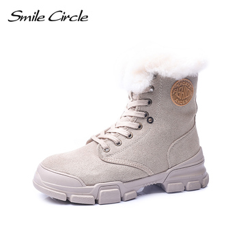 Smile Circle Winter Ankle Boots Women Suede leather sneakers Fashion Warm plush Lace-up Flat Platform shoes for Women