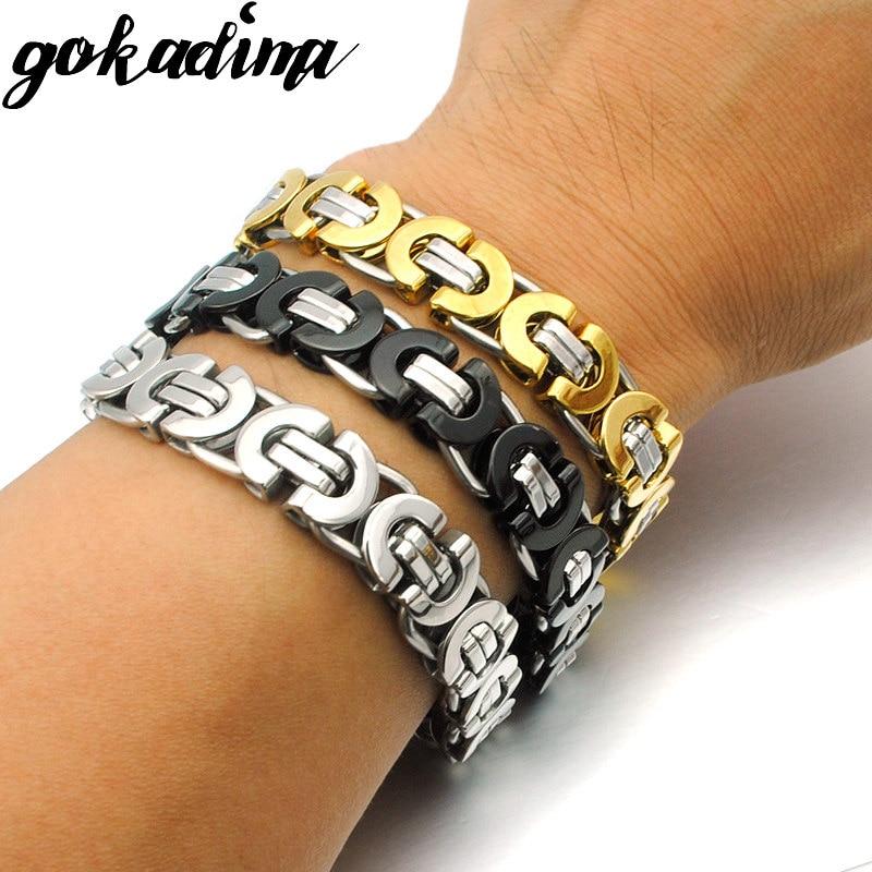 Gokadima Pria Gelang Emas Warna Stainless Steel Rantai Bizantium Datar gelang untuk hadiah Natal Hip Hop Jewelry