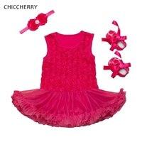 3D רוז של התינוק ולנטיין תלבושות 3 יחידות של הילדה תחרת שמלה בגימור & נעלי שמלת ערב סט Conjunto Bebe בגדים פעוט