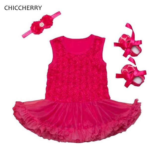 3D Rosa Bebé Trajes 3 unids de San Valentín Lindo Bebé de Encaje Tutu Diadema y calzado set wedding dress roupa de bebe recién nacido ropa de la muchacha