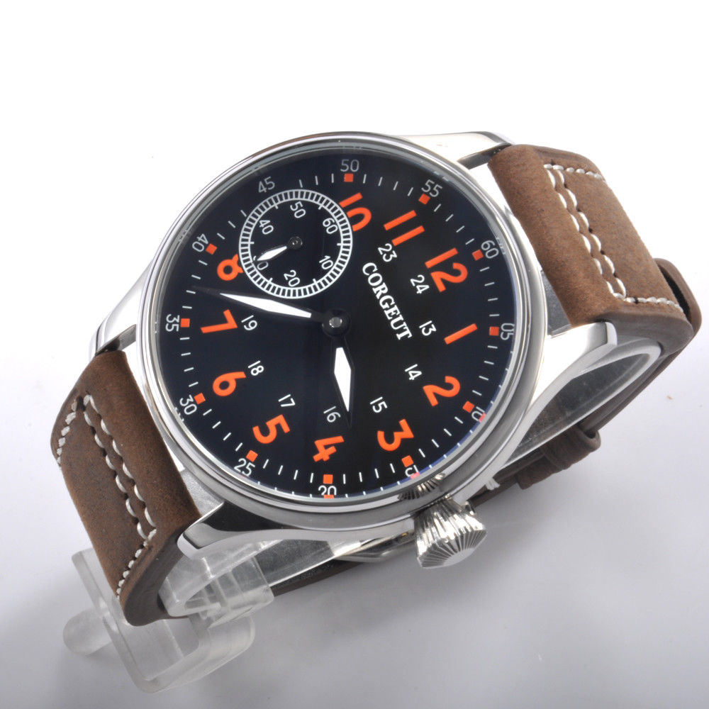 44mm Corgeut Black Dial Orange Marks Stainless steel Case leather strap 17 jewels hand winding 6497 movement men's Watch 44mm corgeut black dial orange marks stainless steel case leather strap 17 jewels hand winding 6497 movement men s watch