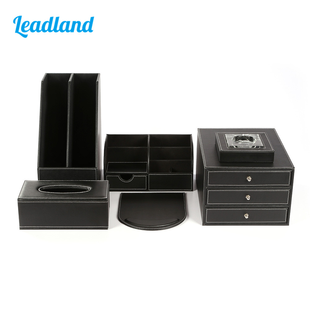 Deluxe Office Desktop 6-Piece Set Pen Pencil Holder File Rack Stationery Organizer Box Tissue Dispenser Ashtray T02 Black/Brown carb environmetal diy creative office desktop wood stationery holder 4 layer a4 file organizer clips holder desktop file tray