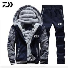 DAIWA комплект одежды для рыбалки осень зима Спорт на открытом воздухе камуфляж походные рыболовные рубашки и брюки мужские с капюшоном рыболовные куртки