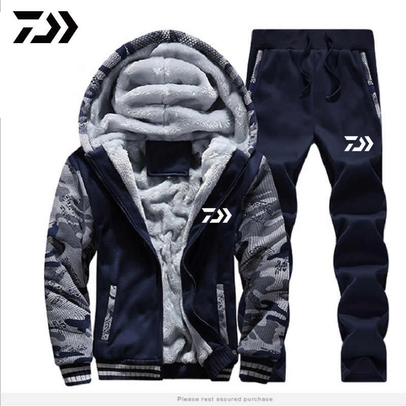 DAIWA Fishing Clothing Set Autumn Winter Outdoor Sport Camouflage Hiking Fishing Shirts And Pants Men Hooded Fishing Jackets