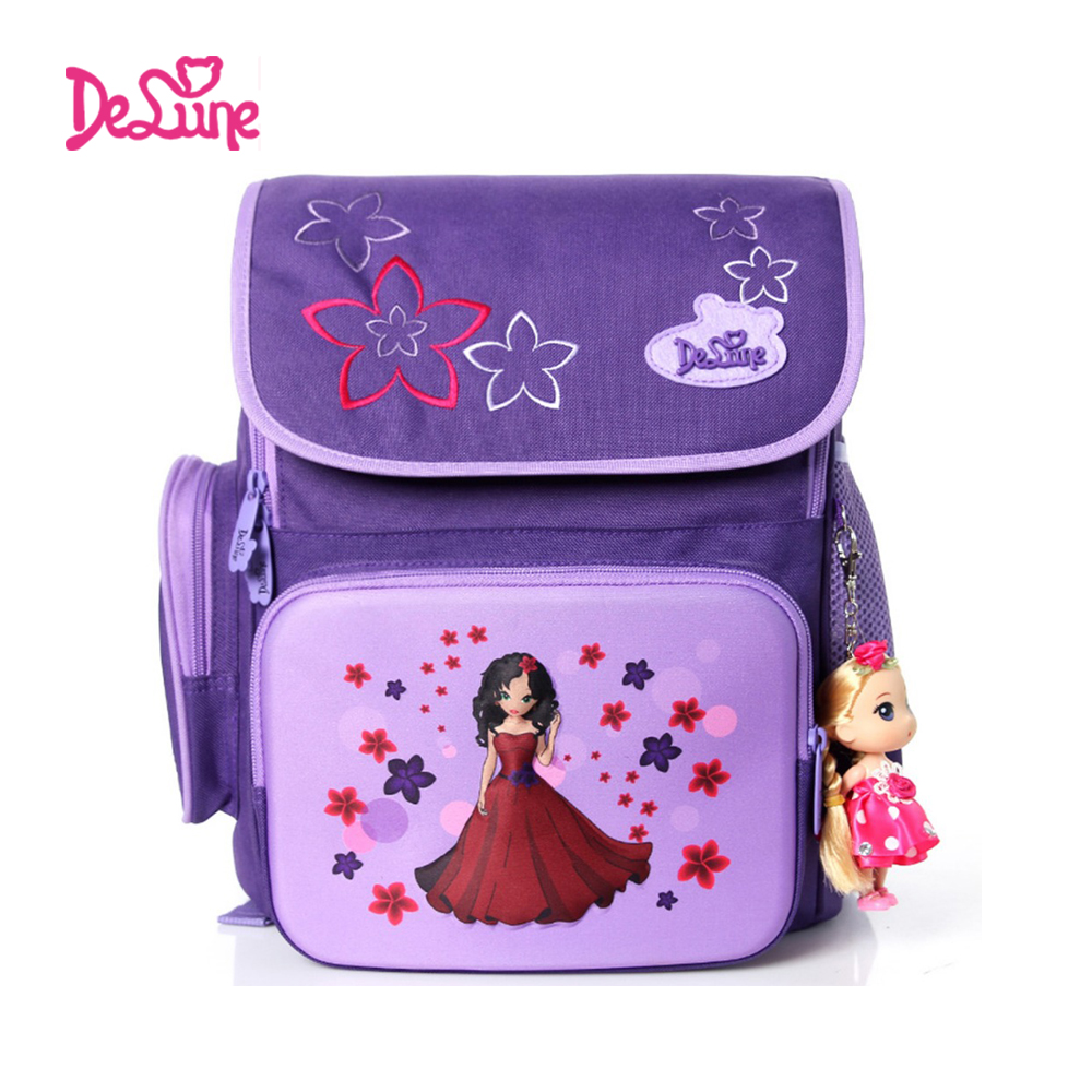 Delune 2015 new character girl backpack for school high quality spine protection school bags for girls kids trolley school bag