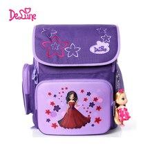Delune 2015 nueva chica carácter spine protección mochila para la escuela de alta calidad bolsos de escuela para niñas niños bolsa de la escuela carro