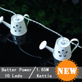 Battery Operated Fairy Lights 10LED Metal White Teapot String Lights For Christmas Party Wedding Luces Decorativas SM-SI-90