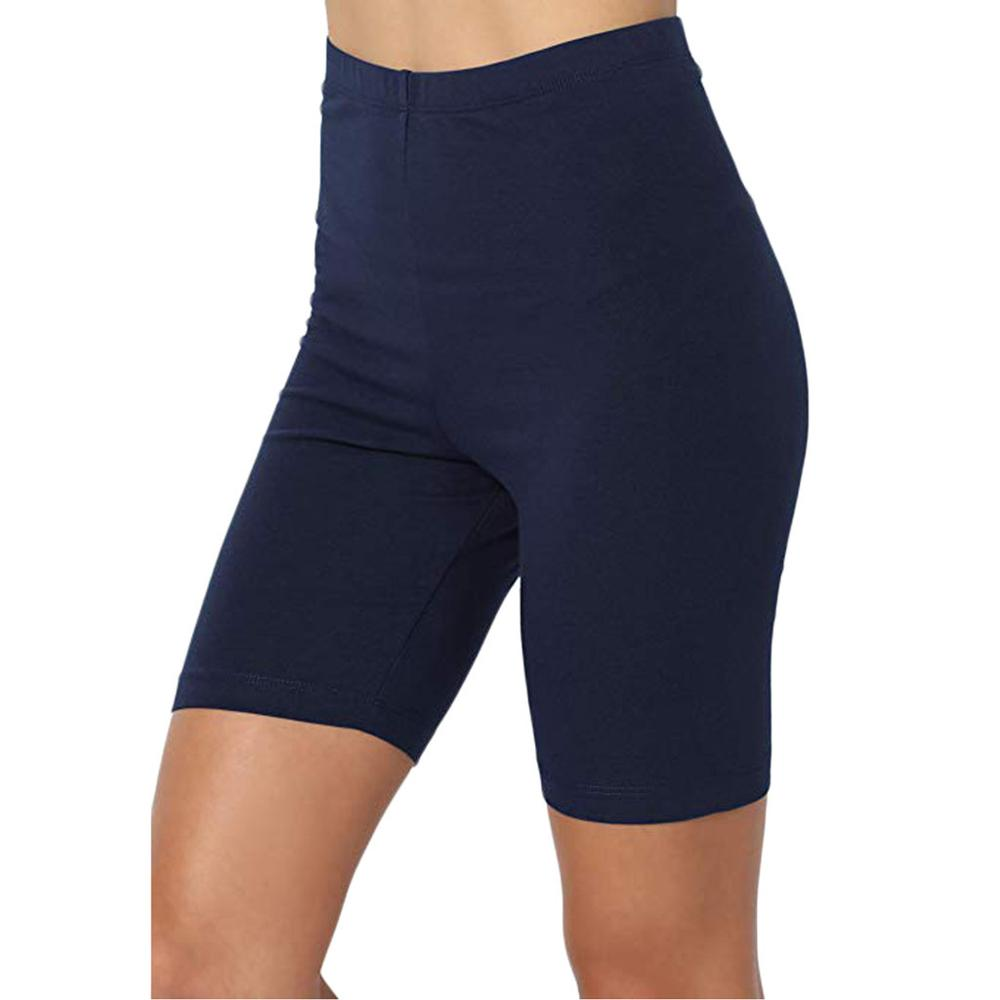 Women Summer Active Mid Thigh Stretch High Waist Cycling Shorts Ladies Sport Wear Fitness Leggings Bicycles Workout Sweatpants