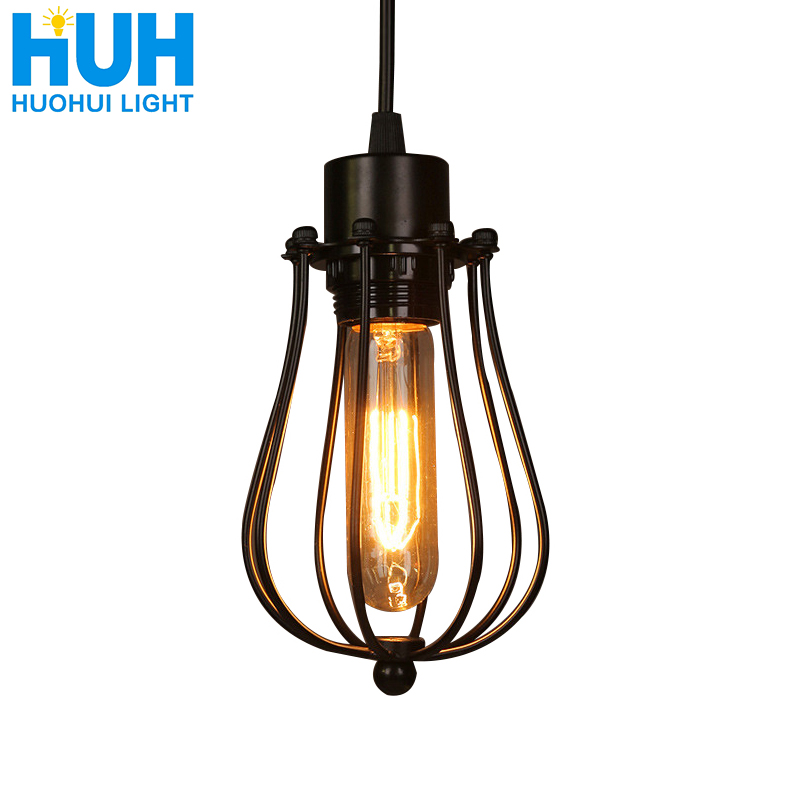 Vintage Cage Chandelier  Edison Light Bulb Loft  Restaurant Bedroom Pendant LED Lighting Industry Vintage Iron Lamps For Home