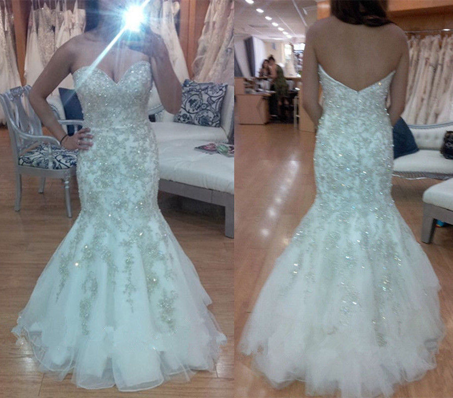 Crystal Wedding Gown: Shiny Heavy Beaded Luxury Crystal Wedding Dress Mermaid