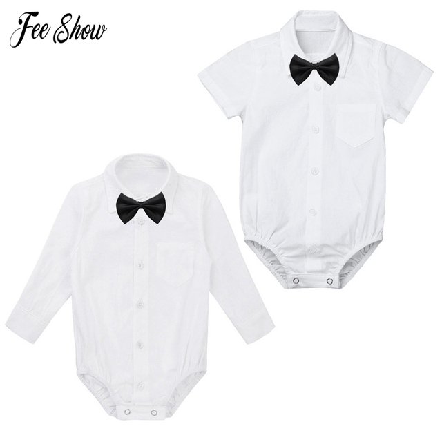 bc0fd4e7624 Infant Baby Boys Cotton Rompers 2018 Autumn Long Sleeves Formal Gentleman Shirt  Romper Jumpsuit with Black