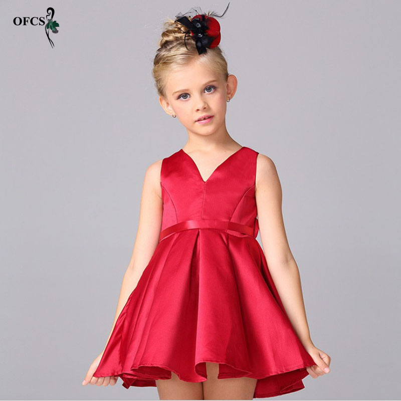 OFCS Baby Girl Red Satin Princess Dress Vest Ribbon Kids Wedding Dress Infants Bridesmaid Clothes Summer Vestidos Dresses 2-15Y