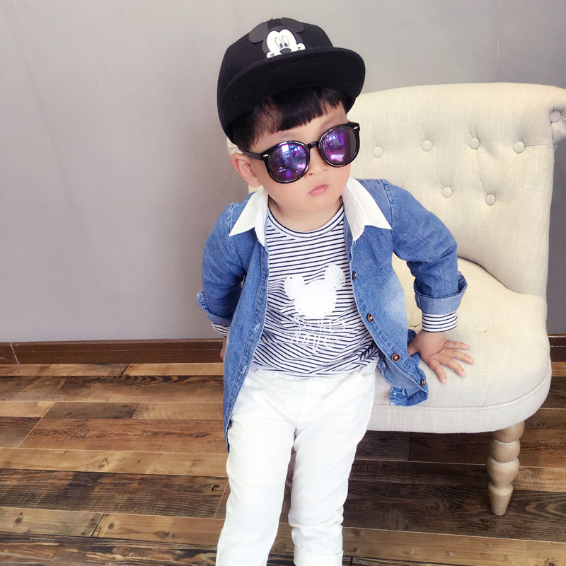 Spring 2016 new Korean children's clothing wholesale clothing boys shirt Denim Shirt Boys Denim Shirt