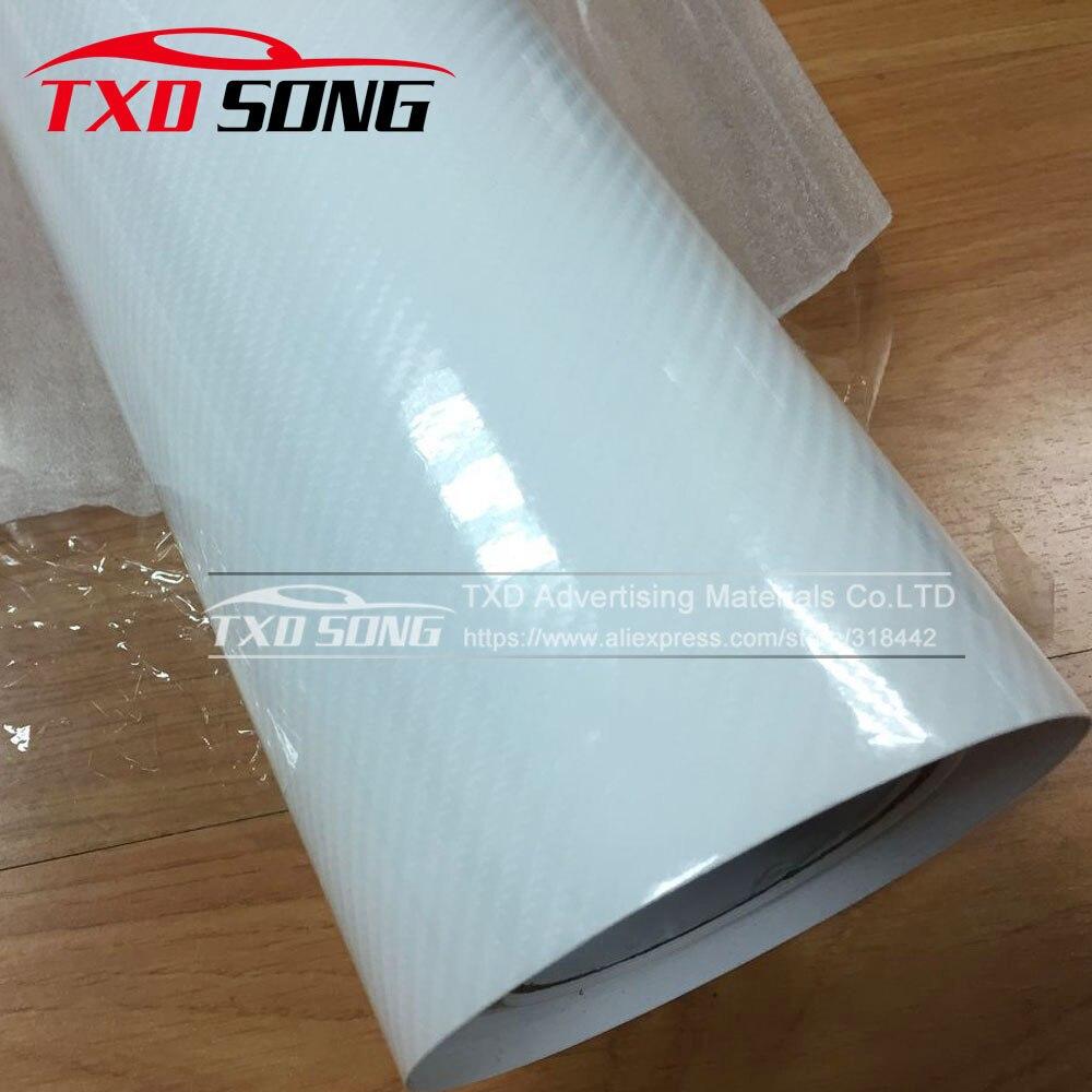 Высокое качество ультра-синий глянец 5D углеволоконная виниловая Обёрточная бумага 4D текстура супер глянцевая 5D углерода Обёрточная бумага s с 10/20 Вт, 30 Вт/40/50/60X152 см - Название цвета: white