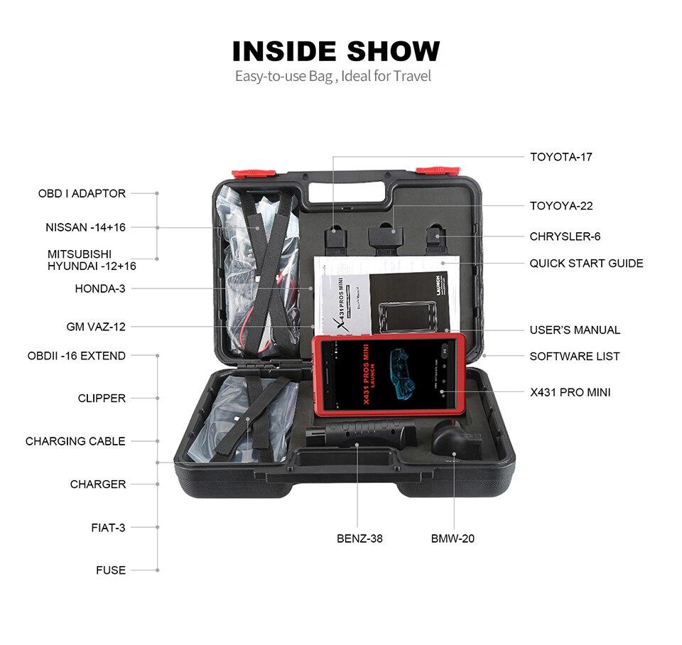 Image 5 - Авто инструмент диагностики Launch X431 Pros Mini с 6.8'' экран PC Поддержать Wi Fi/Bluetooth полные системы Бесплатное 2 год онлайн обновление-in Тестеры аккумуляторов from Автомобили и мотоциклы