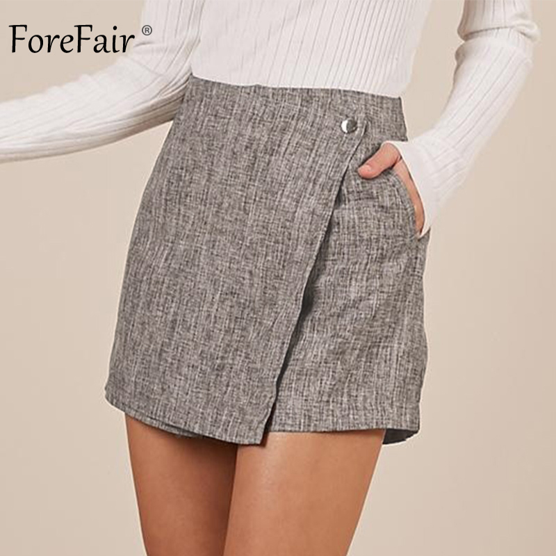 Forefair Sexy Mini High Waist Skirt   Shorts   Women Irregular Trendy Vintage Wide Leg Office Work Linen   Short   Pants Winter