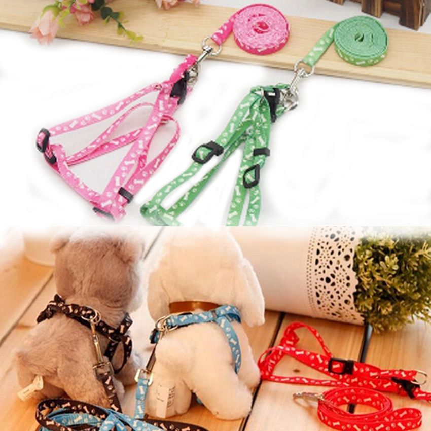 120CM Long Puppy Nylon Adjustable Traction Rope Harness Detachable Small Dog Pet Collar Lead Leash S