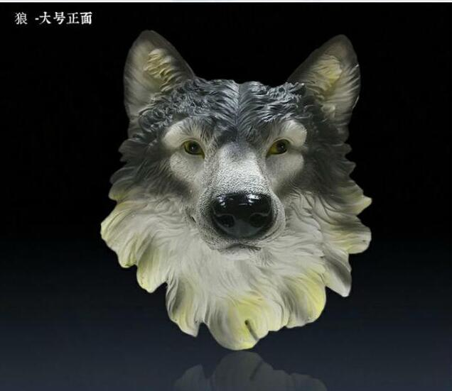 New wall coverings of European simulation Wolf statue living room office bar decorated resin animal head muralNew wall coverings of European simulation Wolf statue living room office bar decorated resin animal head mural