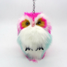 Colorful Fluffy Owl Key Chain Artificial Rabbit Fur Charms PomPom Keychains Women Bag Car Key Ring Trinket Jewelry Accessories