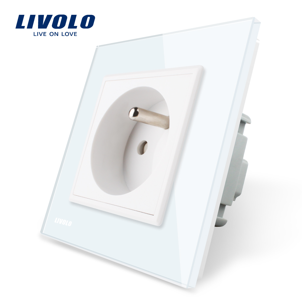 Livolo New Outlet,French Standard Wall Power Socket, VL-C7C1FR-11,White Crystal Glass Panel, AC 100~250V 16A atlantic brand double tel socket luxury wall telephone outlet acrylic crystal mirror panel electrical jack