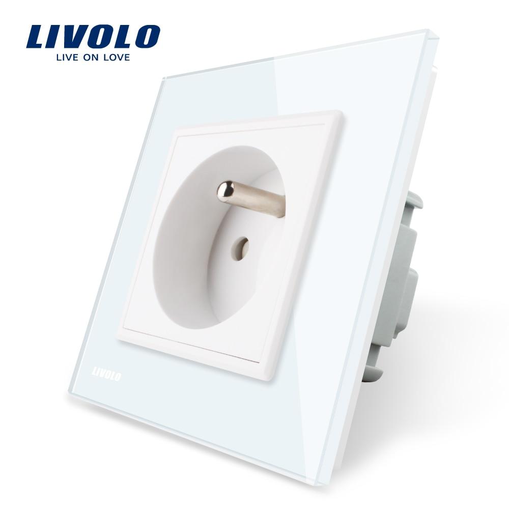 Livolo nuevo salida francés de pared estándar hembra de alimentación de VL-C7C1FR-11 blanco de cristal de vidrio de Panel AC 100 ~ 250 V 16A
