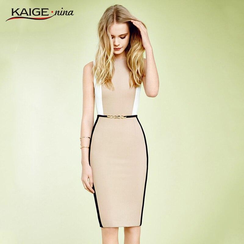 Kaige. nina verano de las mujeres elegantes con cinturón golpe color patchwork t