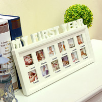 My First Year Picture Frame For Newborn Baby Hanging Decorative Wooden Photo Frame