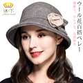Lady Fashion Fedoras Wool Hat Female Autumn and Winter Dome Woolen Hat Flowers Decoration Women Curling Warm Cap B-4495