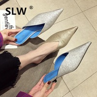 sexy pointed toe mule new lazy slides woman gold/silver outdoor med heel slippers brand design casual flip flops feminino