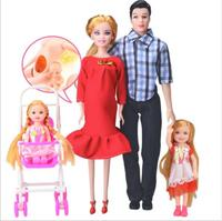 Familia 5 personas Muñecas Trajes 1 mamá papá niña bebé real muñeca embarazada regalos