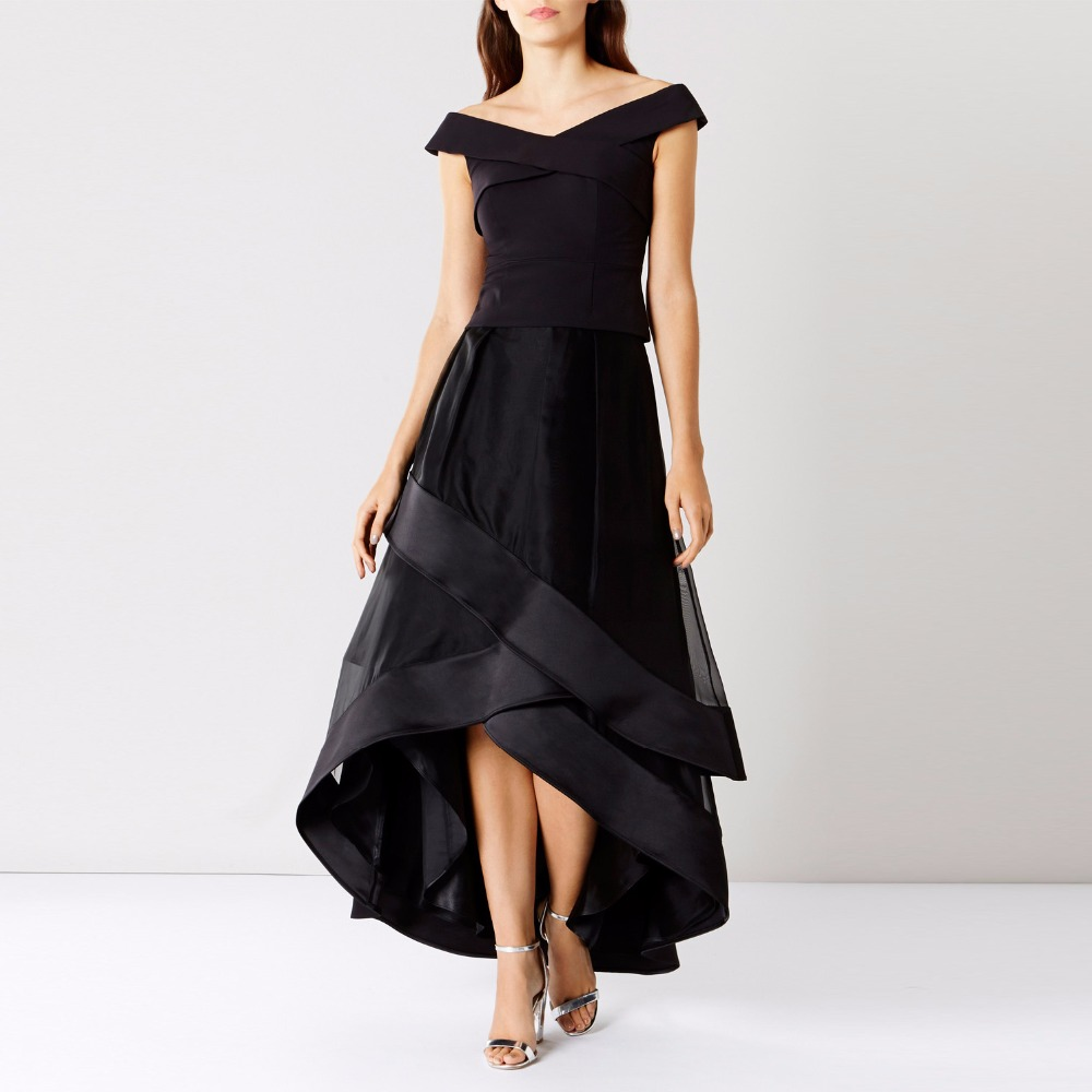 2017 High End Women Black Tiered Organza Skirts For Women To Formal Party With Satin Ribbon Edge Zipple Style Long Skirt
