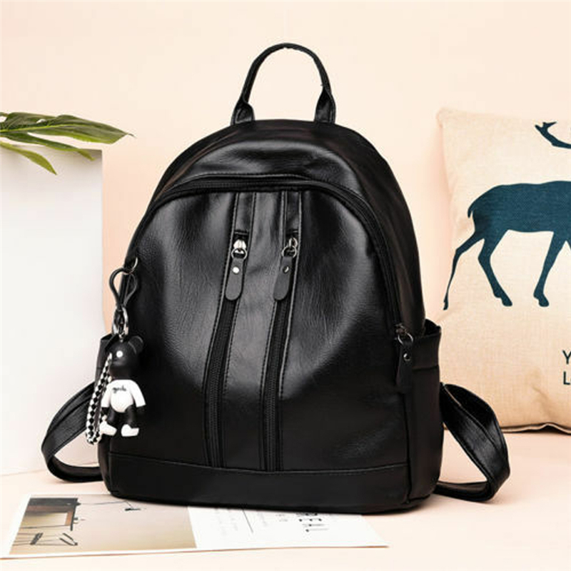 Duopindun Bolsa Feminina Women Girl PU Leather Material School Backpack Travel Rucksack Small Bear Charm Hot Selling