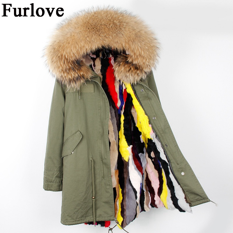 Winter jacket women 2017 coats fashion casual parka real raccoon fur collar hooded rabbit fur coat thick warm fur liner parkas