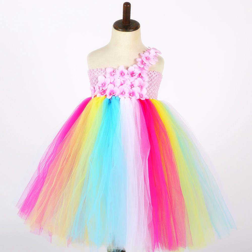 Rainbow Flower Girl Tulle Tutu Dress One Shoulder Kids Wedding Party Special Occasions Tutu Dresses For Pageant Birthday Photos flower girl tutu dress peach coral flower tulle dress floor length kids tutu dress for wedding birthday party photo ts075