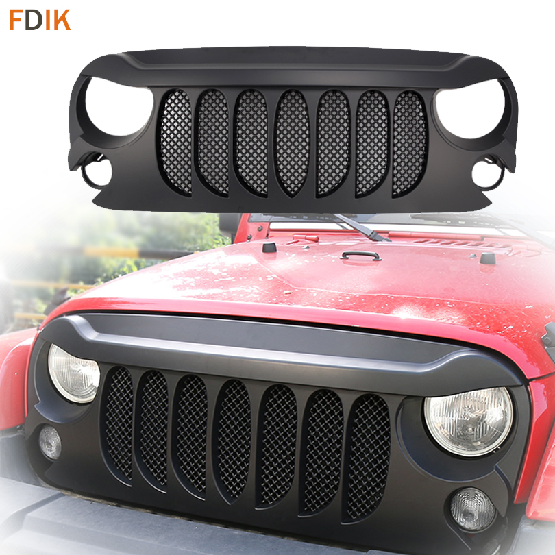 Sport Replacement Front Eagle Eye Beast Grill Grille with Mesh Insert for Jeep Wrangler Unlimited Rubicon JK Sahara 2007-2017 partol mesh grill insert grille front bumper mesh grill forjeep wrangler jk 2dr 4dr 2007 2017 car styling with glared eagle eye