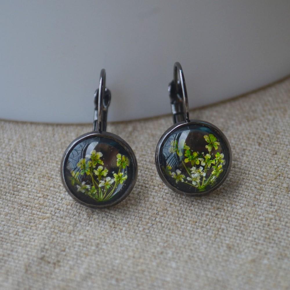 Зеленый babysbreat настоящий цветок черные медные Висячие серьги