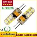 G4 СВЕТОДИОДНЫЕ 12 В AC DC 3 Вт 6 Вт Затемнения СВЕТОДИОДНАЯ Лампа G4 24/48 светодиодов 3014 SMD Лампа Ultra Bright Бесплатная Доставка