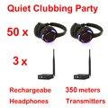 Sistema completo negro led wireless auriculares Discoteca silenciosa Silencioso Clubbing Party Bundle (50 Auriculares + 3 Transmisores)