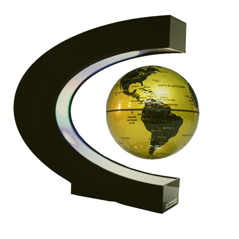 New arrive 4 inch C Shape Electronic Magnetic Levitation Floating Globe World Map with LED Lights Birthday Gift Decoration Home brand new led world map world globe rotating swivel map of earth geography educational tool birthday gift home office decoration