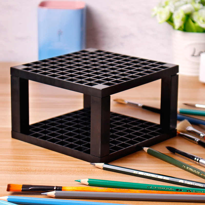 Bgln 1Piece 96Holes Penholder black grey Paint Brush Pen Holder Rack Display Stand Support Holder Painting Brush For Drawing in Palette from Office School Supplies