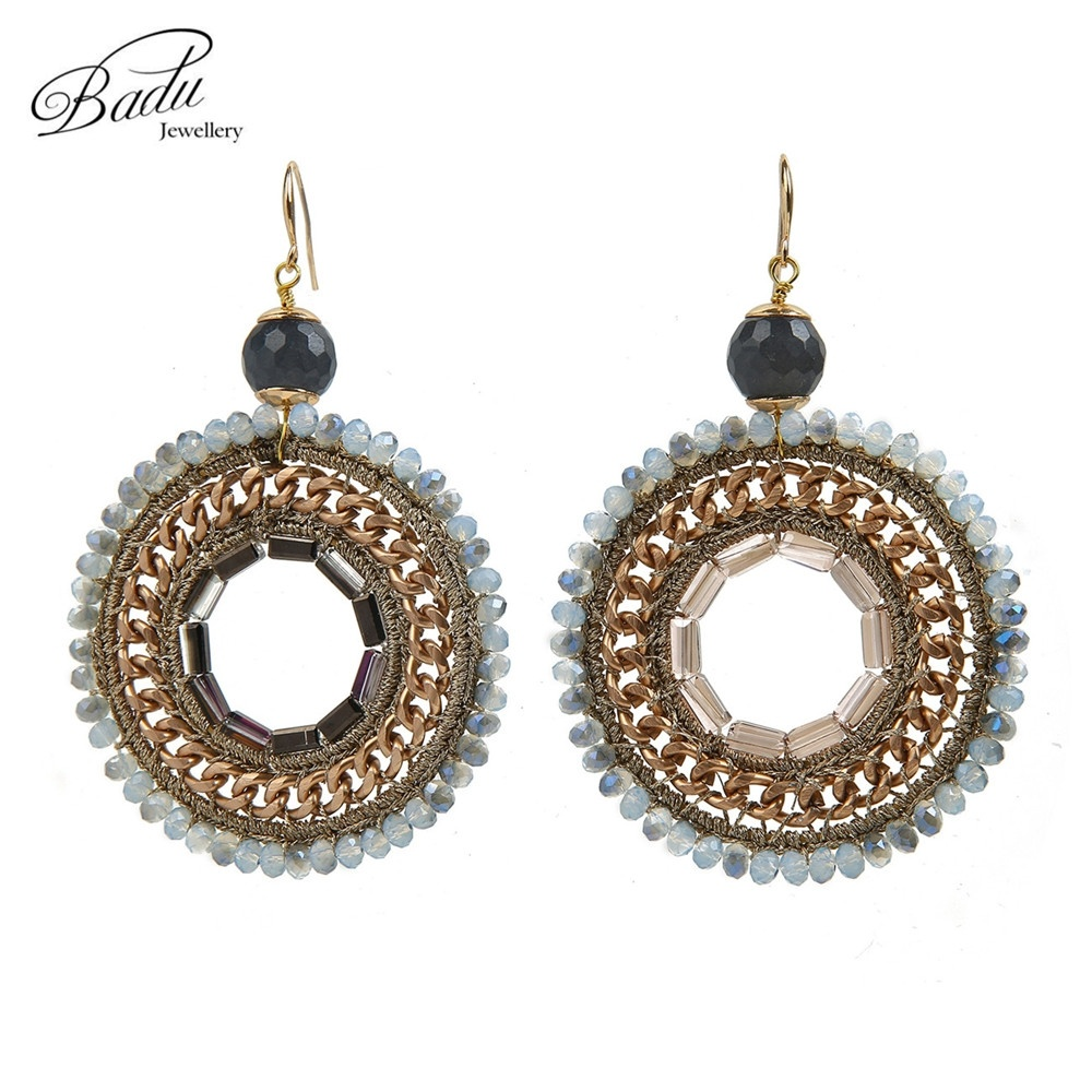 Crochet Hook Earrings: Badu Handmade Women Crystal Natural Stone Round Crochet