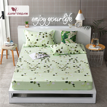 Slowdream 1PCS Bed Sheet Nordic Mattress Cover Fitted With Elastic Band Linen Euro Rubber Pillowcase Corners