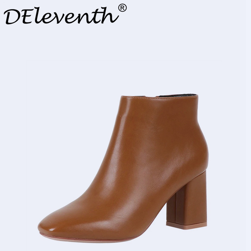 DEleventh Brand Design Contracted Fashion Women Square Toe Thick High Heels Shoes Booties Woman Boots Ladies Shoes Ankle Boots