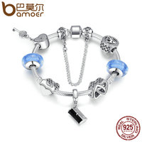 BAMOER 925 Sterling Silver Women Handbag Heart Lock Key Light Blue Glass Beads Charm Bracelet Sterling