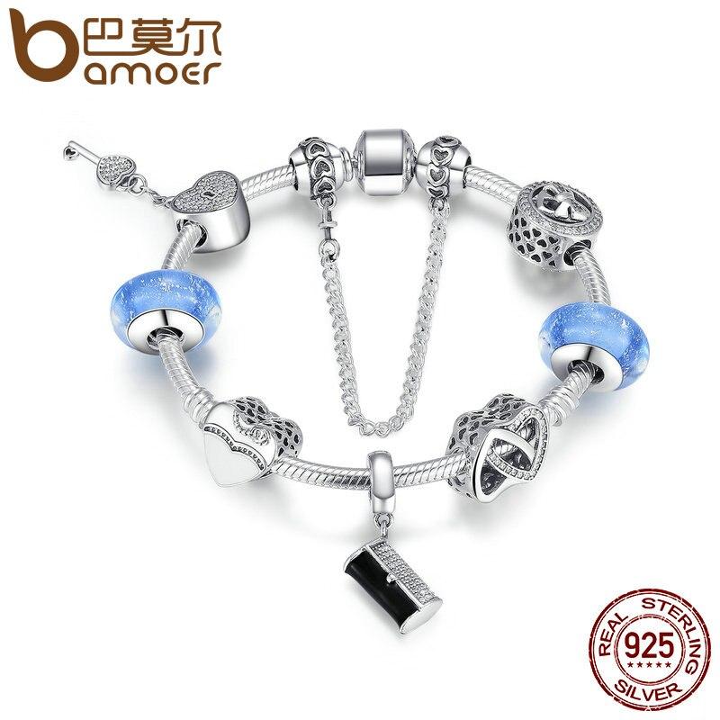 Bamoer 925 серебро Для женщин сумки, сердце lock, светло-голубой Стекло Бусины браслет sterling Серебряные ювелирные изделия psb015