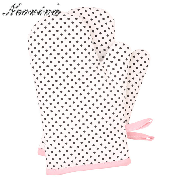 Neoviva Retro Denim Quilted Oven Gloves For Children Set Of 2 Wendy Polka Dots White Vintage Cute Protective Kitchen Bake Glove