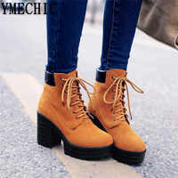YMECHIC Autumn Women Boots Lace Up Punk Block Heel Shoes Plus Size Black Yellow Womens Boots Ankle Platform Combat Motorcycle