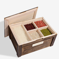 Grain cereal storage box grid kitchen solid wood storage box pest control moisture proof rice cylinder household WF712359